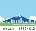 富士と街並み 15874612