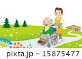介護 車いすの男性とヘルパー 散歩 15875477