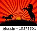 馬 影 人影のイラスト 15875601