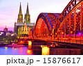 ケルン大聖堂 ホーエンツォレルン橋 夕焼けの写真 15876617