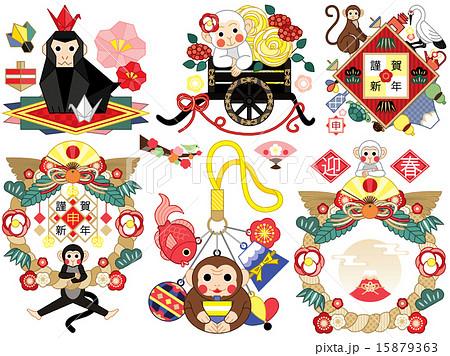2016年申年年賀状用イラストデザイン(折り紙・花車・鶴亀・注連縄・ストラップ・注連飾り)カラフル 15879363