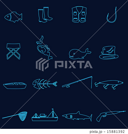 simple outline blue fishing icons set eps10のイラスト素材 [15881392] - PIXTA