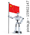 Android Robot standing with flag of China.  15902147