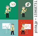 Set of cute cartoon young businessmen. Idea concept and finance report graph 15968731