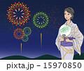 浴衣 ベクター 花火大会のイラスト 15970850