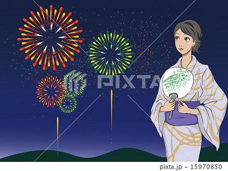 花火と女性 15970850