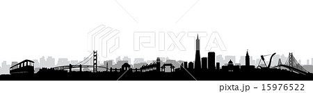 san francisco skyline silhouette vectorのイラスト素材 15976522 pixta