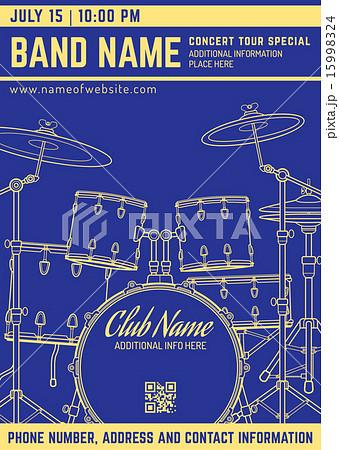 rock music concert drum set flyer template のイラスト素材 15998324