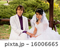 Couple love bride and groom posing sitting on wood 16006665