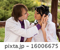 Couple love bride and groom posing sitting on wood 16006675