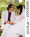 Couple love bride and groom posing sitting on wood 16006680