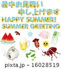 暑中見舞い用文字と夏イメージイラスト 16028519