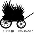 The cart with flowers. Silhouette 16030287