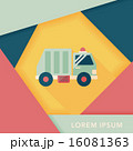 Transportation Garbage truck flat icon with long shadow,eps10 16081363
