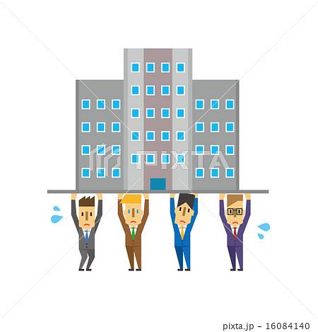 会社を支えるビジネスマンのイラスト素材 16084140 Pixta
