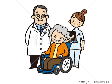 doctor and medical staff and old woman 16086934