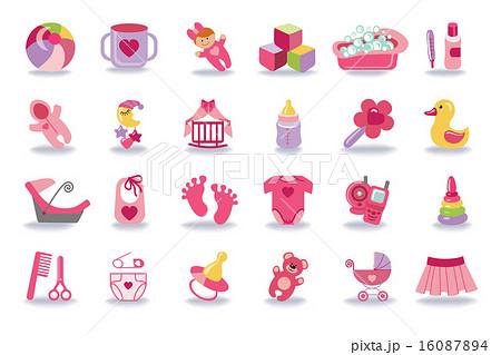 newborn baby girl icons set baby shower kitのイラスト素材 16087894