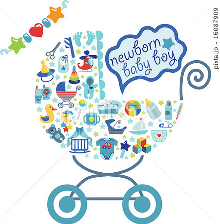 newborn baby boy icons in form of carriageのイラスト素材 16087909