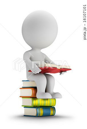 3d small people sitting on the books 16107101