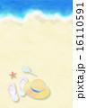 はがきテンプレート 砂浜 波打ち際のイラスト 16110591