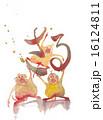 年賀状素材 申 申年のイラスト 16124811