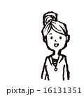 線画 お団子ヘア ベクターのイラスト 16131351