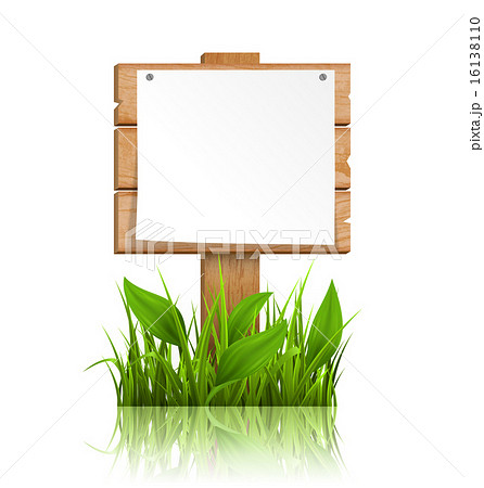 Wooden signpost with grass paper and reflectionのイラスト素材 [16138110] - PIXTA
