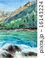 上高地のスケッチ画 16143224