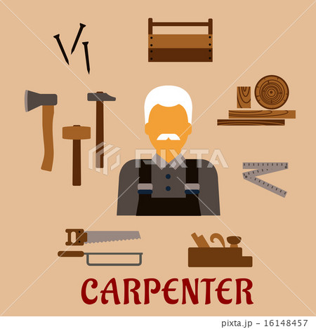 Carpenter with timber and professional tools 16148457