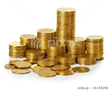 Coins stack isolated on whiteの写真素材 [16158268] - PIXTA