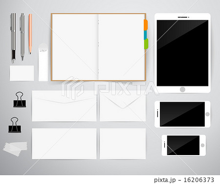 blank template business cards notebook tablet pcのイラスト素材