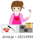 主婦 台所 鍋のイラスト 16214994
