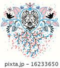 柄 葉っぱ 鳥のイラスト 16233650