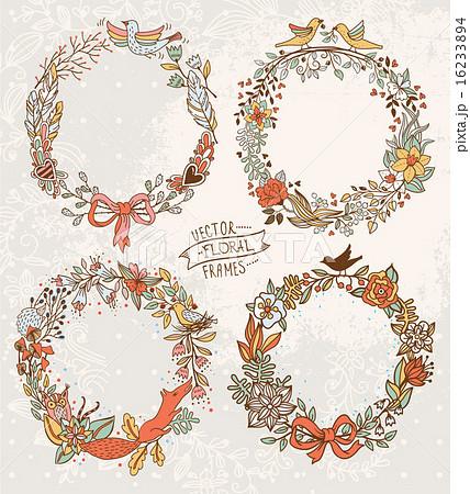 花輪 ガーランド 花冠のイラスト素材 16233894 Pixta