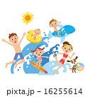 家族が海、プールで遊ぶ 16255614