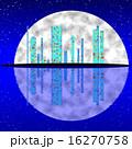 満月 都市景観 ブルーのイラスト 16270758