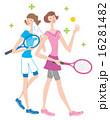 テニス 女性 二人 イラスト 16281482