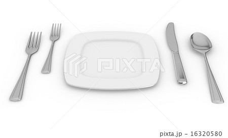 Dinner Plate, Knife,Spoon, and Forkのイラスト素材 [16320580] - PIXTA