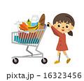 買い物カートを押す子供【三頭身・シリーズ】 16323456