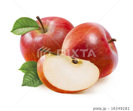 Red Jonathan apples and quarter slice isolatedの写真素材 [16349281] - PIXTA