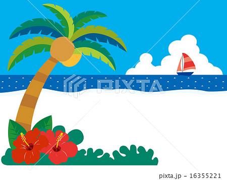 南国椰子の木とハイビスカスのあるビーチ01のイラスト素材 16355221