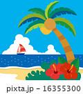 南国,椰子の木とハイビスカスのあるビーチ02 16355300