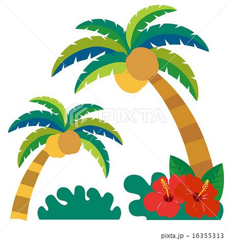 南国椰子の木2本とハイビスカスセットのイラスト素材 16355313 Pixta