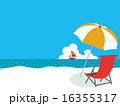 南国,椰子の木とハイビスカスのあるビーチ01 16355317