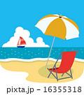 南国,椰子の木とハイビスカスのあるビーチ02 16355318