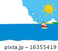 暖かい海に島,入道雲,太陽,かもめ,ヨット01 16355419