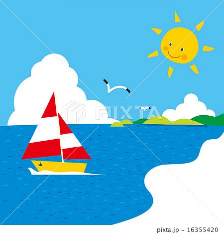 暖かい海に島,入道雲,太陽,かもめ,ヨット02 16355420