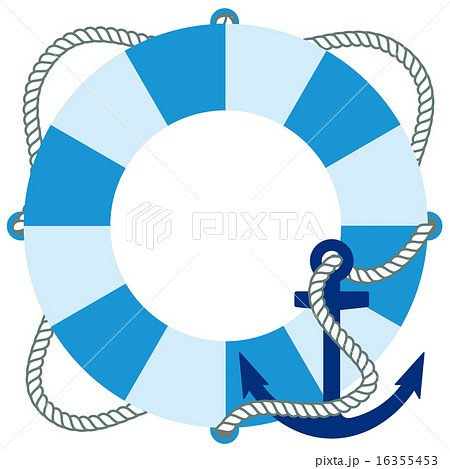 ロープが付いた水色の浮き輪といかりのイラスト素材 16355453 Pixta