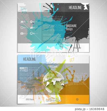 vector set of tri fold brochure design template on both sides with