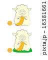 編み物をする羊 筆調 糸の長さ短め 16381661